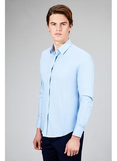 Avva Erkek  Düz Alttan Biritli Slim Gömlek B002209 Mavi